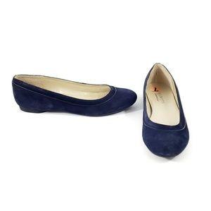Talbots Womens Leather Ballet Flats Navy Size 7